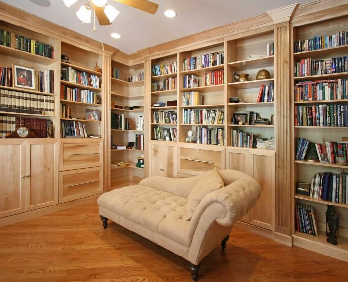 library,study,office,custom,cabinets,chaise lounge chair