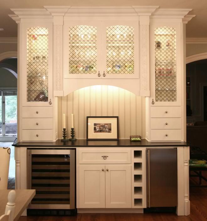 mini bar,wine refrigerator,wine storage,glass front cabinets,ice maker