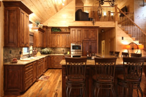 Rustic Home, alder wood,bar stool,cabinet covered appliances,rustic style kitchen