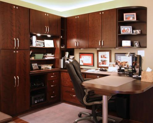 locked cabinets,walnut,home office,computer storage,stainless hardware