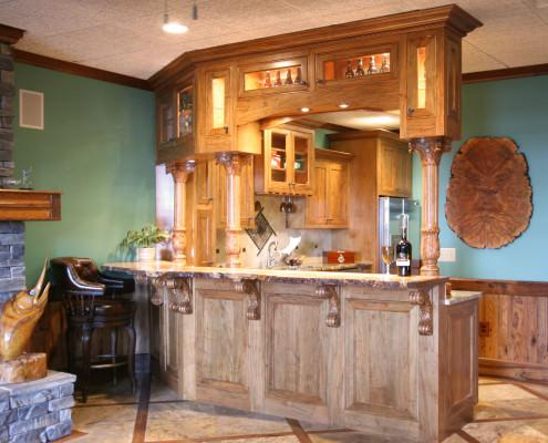 man cave,bar,wood top,corbels,display cabinets,turned post columns