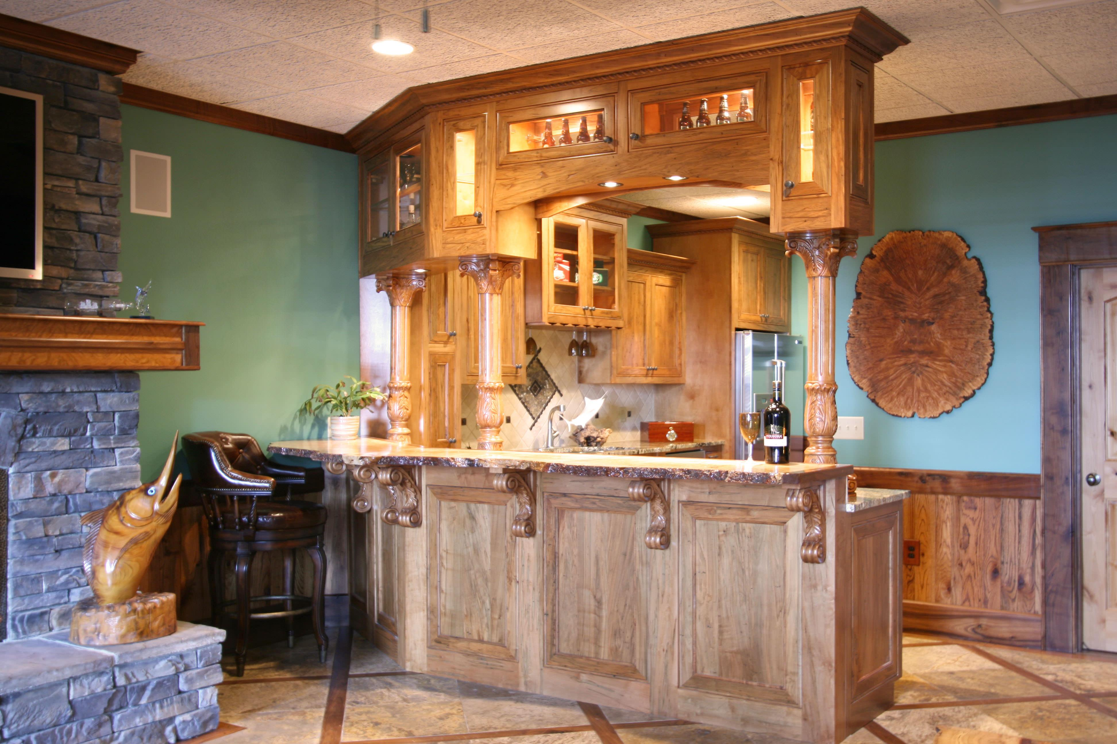 Rustic Bar For Man Cave : Bar and wine rooms custom cabinets by walker woodworking