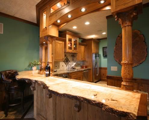 man cave,bar,wood top,corbels,display cabinets,turned post columns