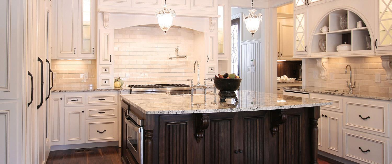 mantle style hood, subway tile, walnut, island, kitchen ideas