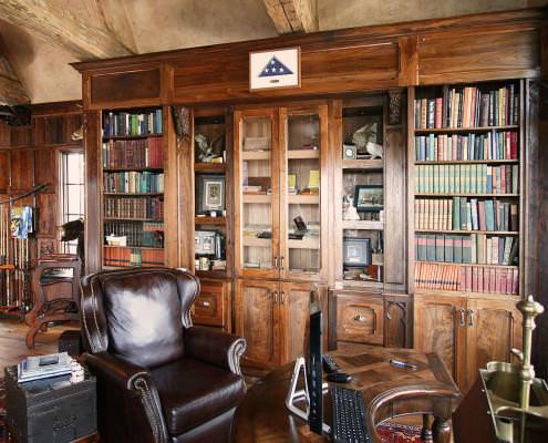 old world,walnut,study,custom book shelf,open shelving