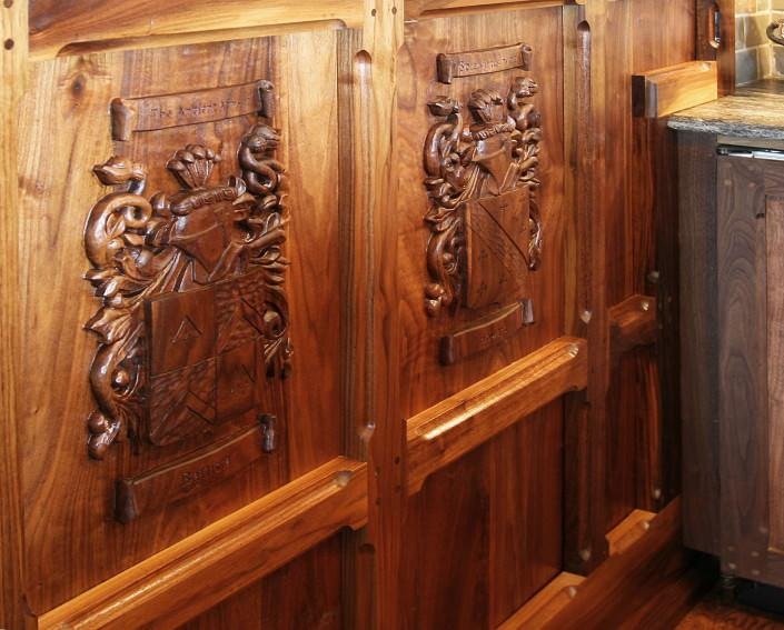 custom made crest ,walnut ,hand carved, man cave, ideas