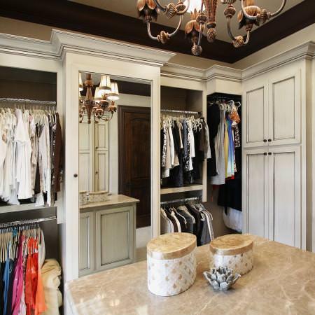 custom, closets, mirrored cabinet door, island