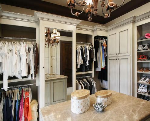 custom, closets, mirrored cabinet door, island