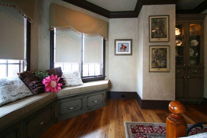 master bedroom,window seat,hardwood floors,custom storage