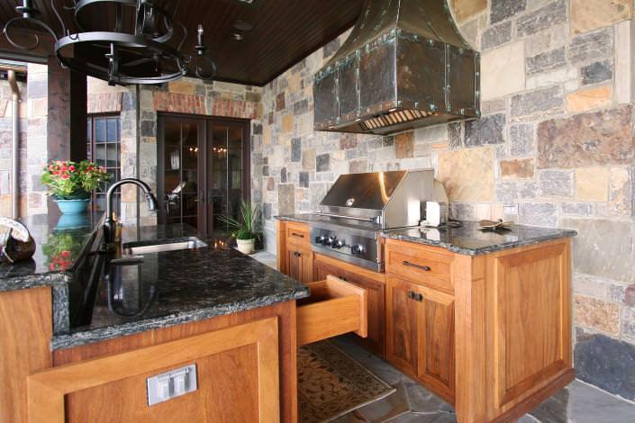 Teak Wood,copper hood,dovetail drawers,outdoor kitchen