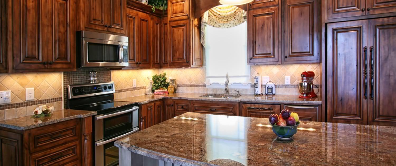 Rustic,Alder wood,granite countertop,beadboard,island,decorative posts