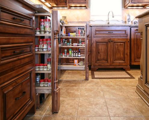 pull out spice rack,decorative posts,furniture base,stain and glazed cabinets