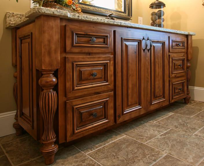 applied molding,stained cabinets,traditional style,bathroom ideas