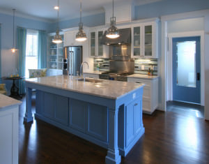 kitchen,colorful kitchen,island,two toned cabinets.decorative details,transitional