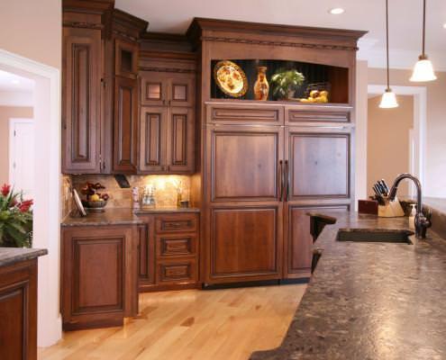 kitchen,paneled appliance,tile back splash,display shelf