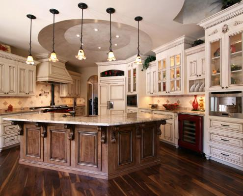kitchen,island,glass cabinet doors,decorative details,two toned cabinets,ideas