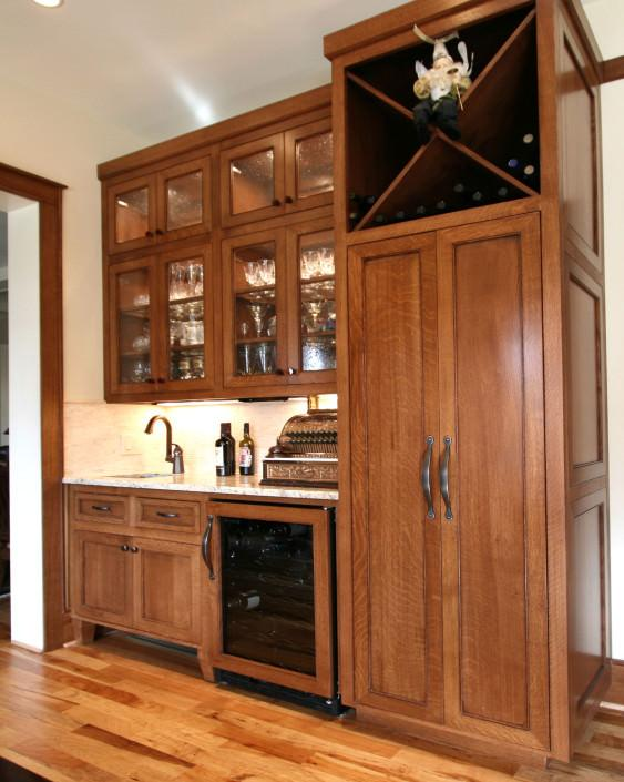 wet bar,wine storage,glass front cabinets,craftsman style,wine refrigerator,shaker style cabinets