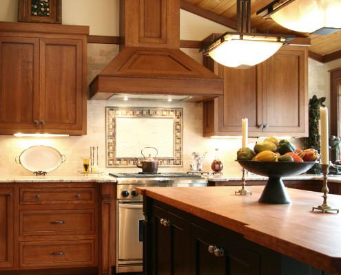 shaker style cabinets,bell style hood,island,craftsman style,kitchen design ideas