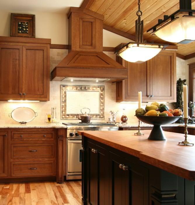 shaker style cabinets,bell style hood,island,craftsman style,kitchen design ideas