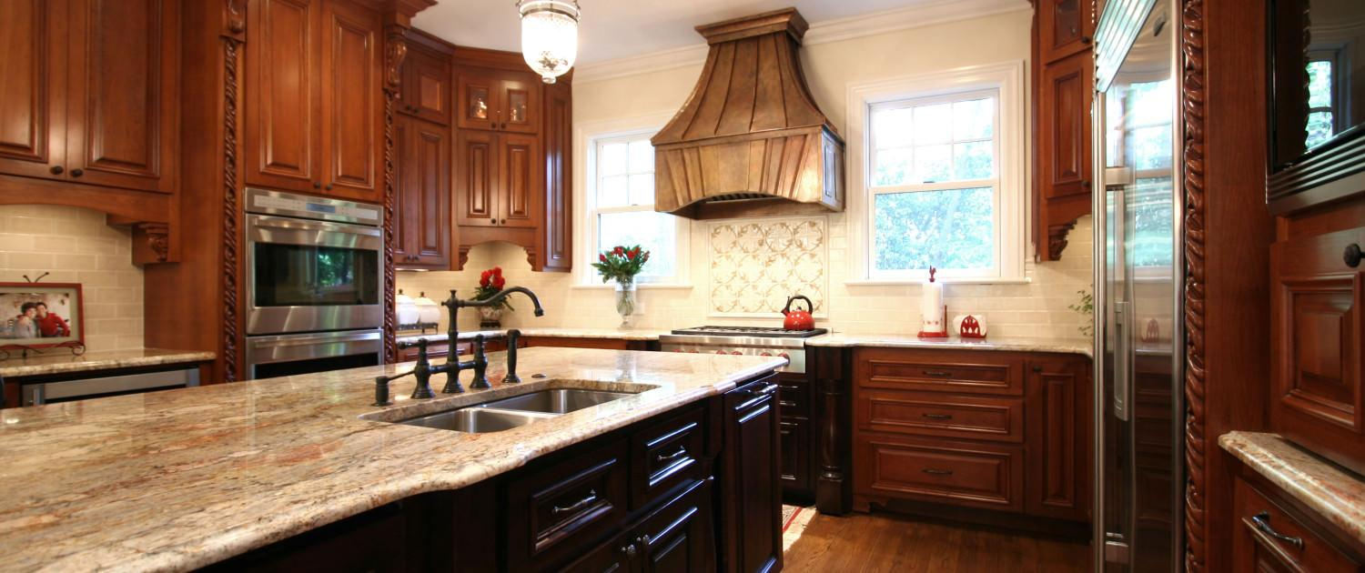 kitchen,island,faux copper hood,two toned cabinets,ideas