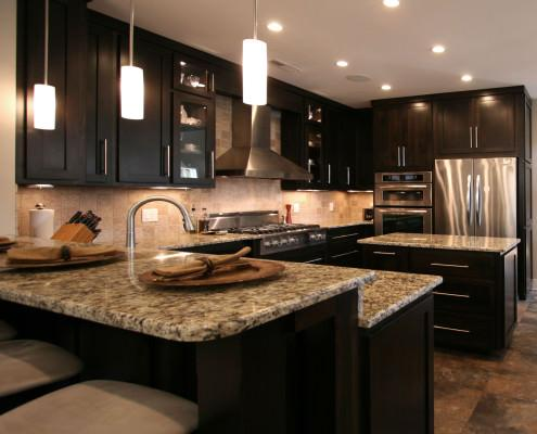contemporary,kitchen ideas,stainless steel appliances,stained alder wood