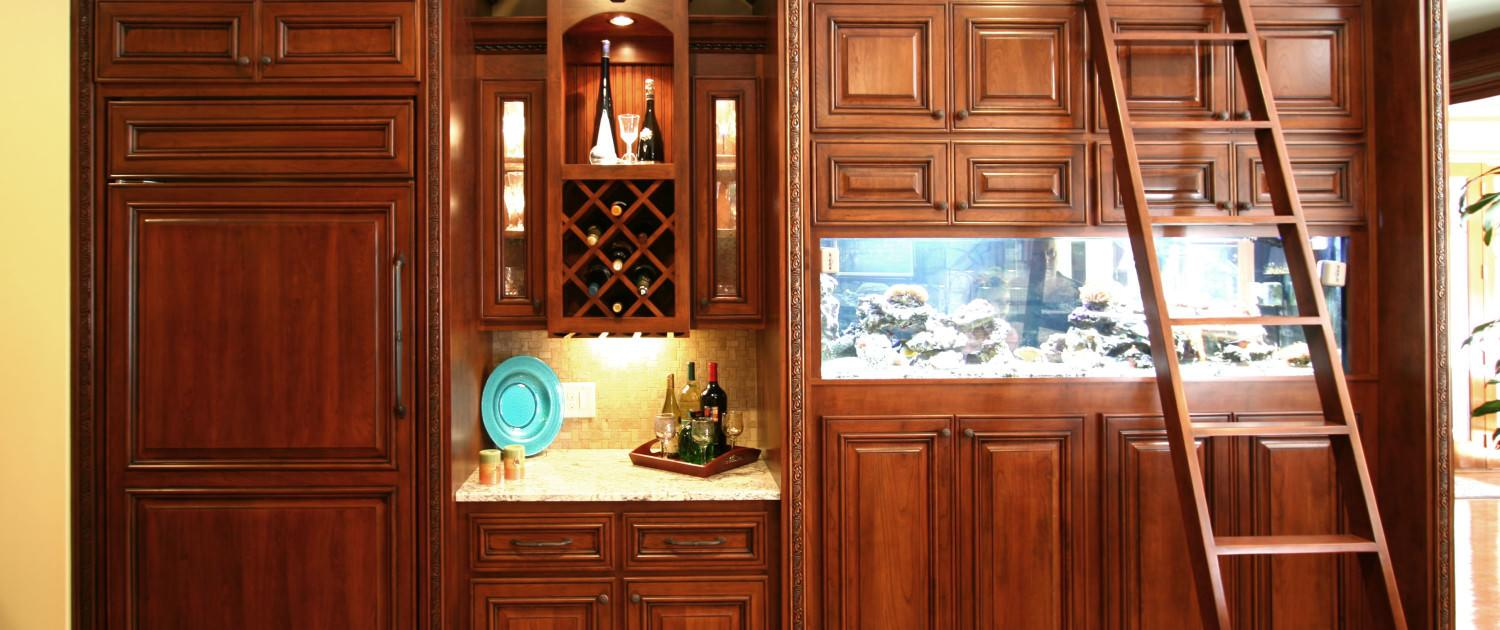 custom built,aquarium,wine rack,cherry wood,rolling ladder,mini bar