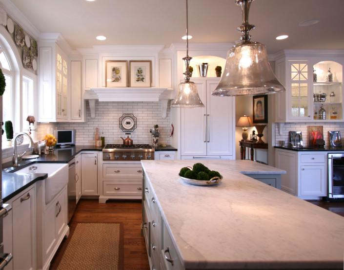 white kitchen,painted cabinets,custom hood,corbels,furniture base cabinets