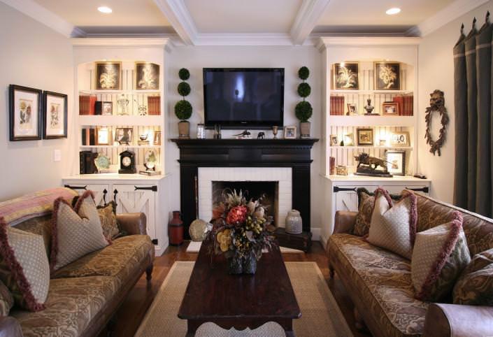 display shelf,bookcase,beadboard,custom fire mantle,rustic ideas,barn door