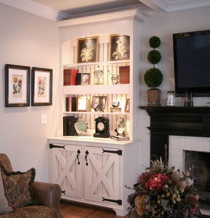 under cabinet lighting,bead board,barn door,fire mantle ideas,rustic style