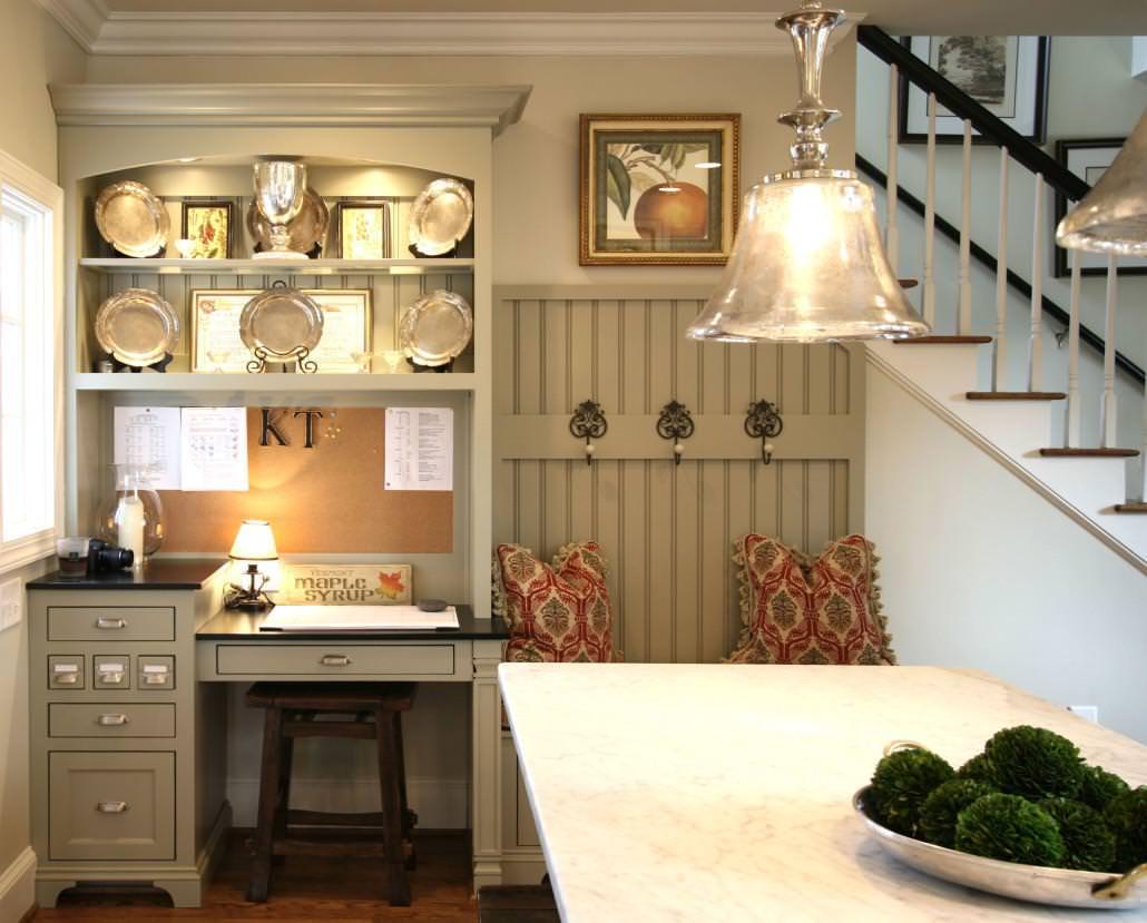bead board,coat rack,crown molding, cabinets, desk