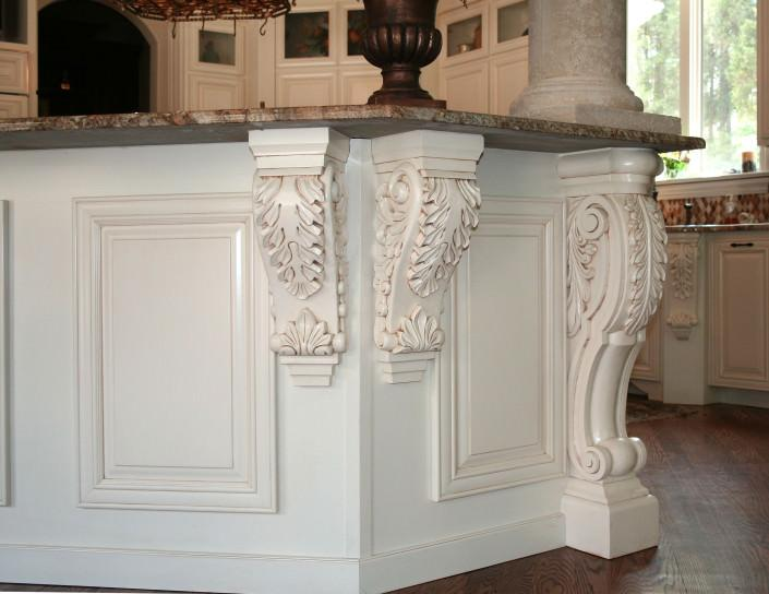 corbels, glazed,traditional style,granite island,overlay,applied molding