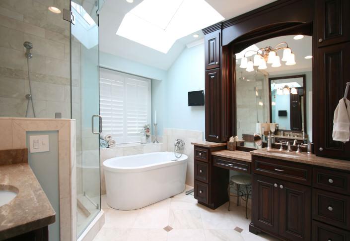 master bathroom,vanity,make up mirror,skylights,seating area