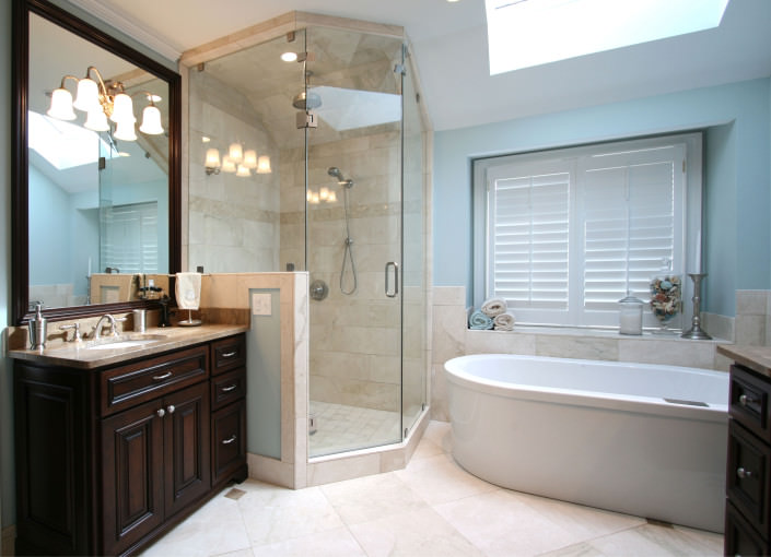 Bathroom,vanity,tiled shower,granite,transitional,ideas