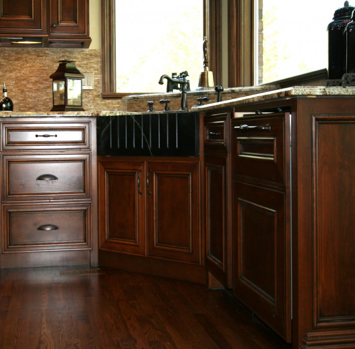 cabinets traditional style, farm sink