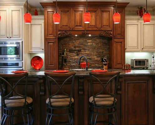 custom cabinets, white painted mixed with stained and glazed