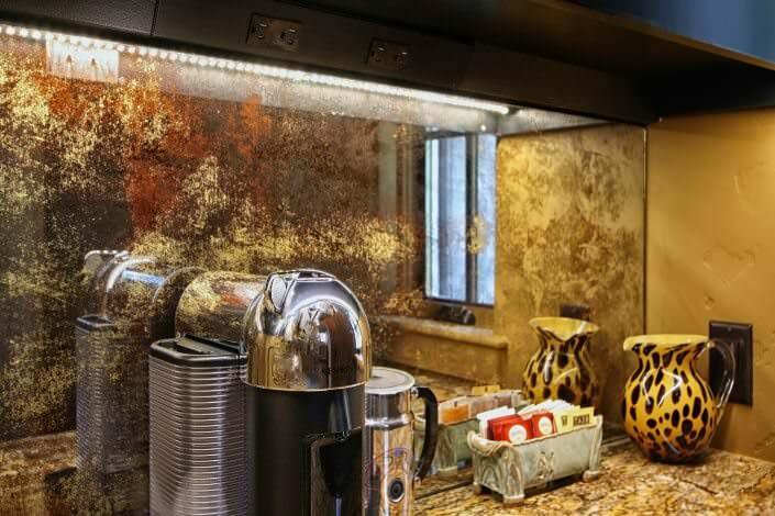 custom cabinets, wet bar design ideas, antique mirror