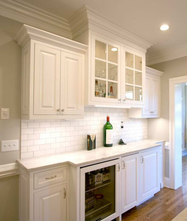 Kitchen remodel transitional project 15 walker woodworking for Wet bar cabinet ideas
