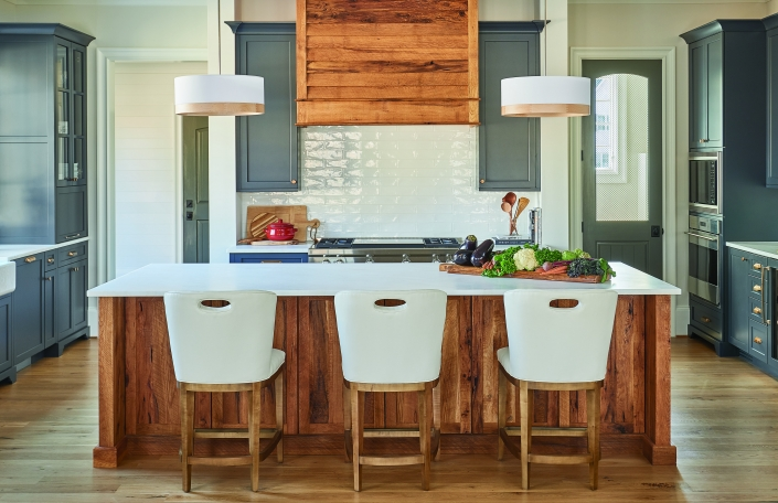 reclaimed wood kitchen island, custom wood hood, rustic kitchen island, modern farmhouse kitchen, blue kitchen cabinets