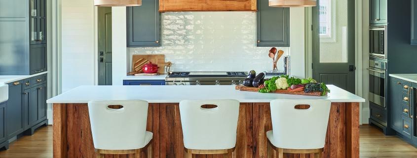 reclaimed wood kitchen island, custom wood hood, rustic kitchen island, modern farmhouse kitchen, blue kitchen cabinets